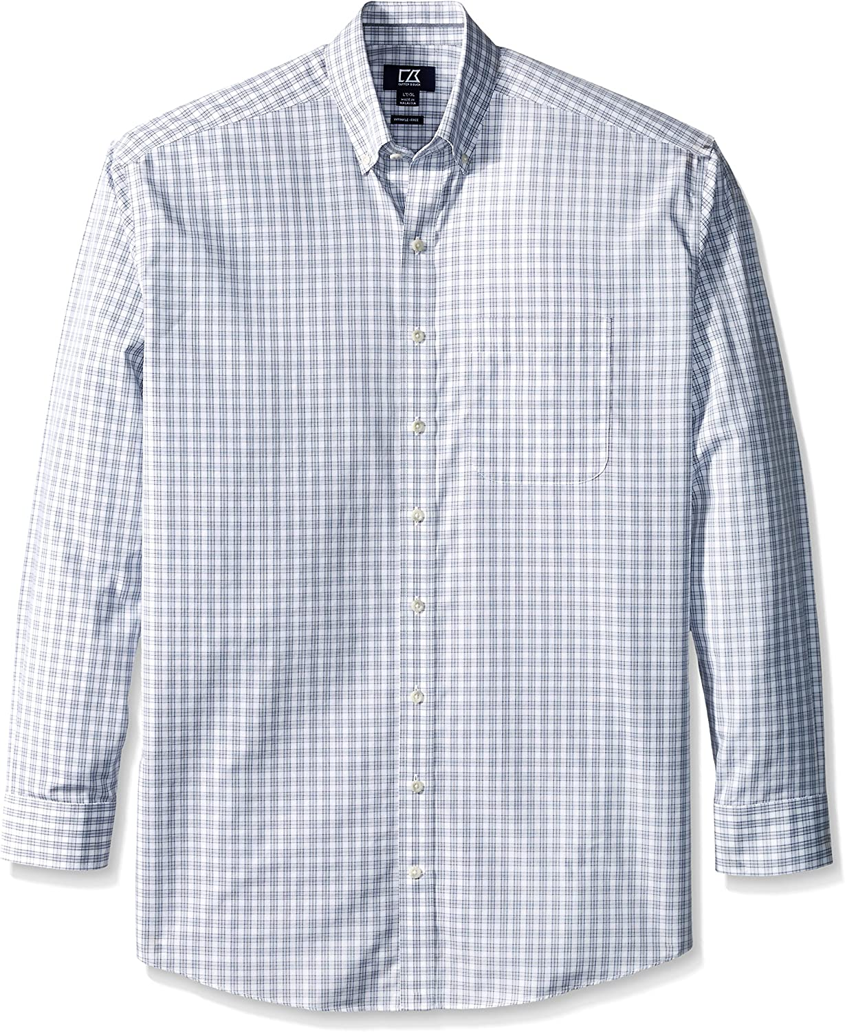 Cutter & Buck Men's Big and Tall Long Sleeve Orcas Wrinkle Free Plaid