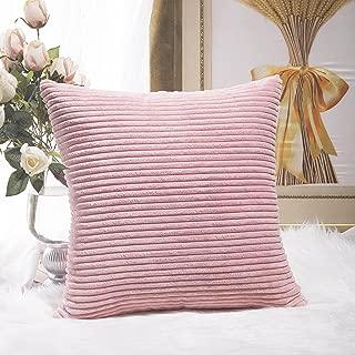 Home Brilliant Plush Velvet Corduroy Throw Euro Pillow Sham Cushion Cover for Sofa, 26 x 26 inch (66cm), Baby Pink