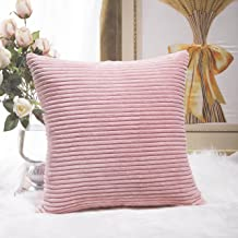 """HOME BRILLIANT Solid Decorative Accent Pillow Case Striped Corduroy Plush Velvet Cushion Cover for Sofa 24"""" X 24"""" Soft Pink"""