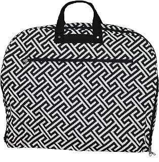 World Traveler World Traveler 40-inch Hanging Garment Bag - Greek Key H Black White, Greek Key H Black White (Black) - 81GM40-185B-W