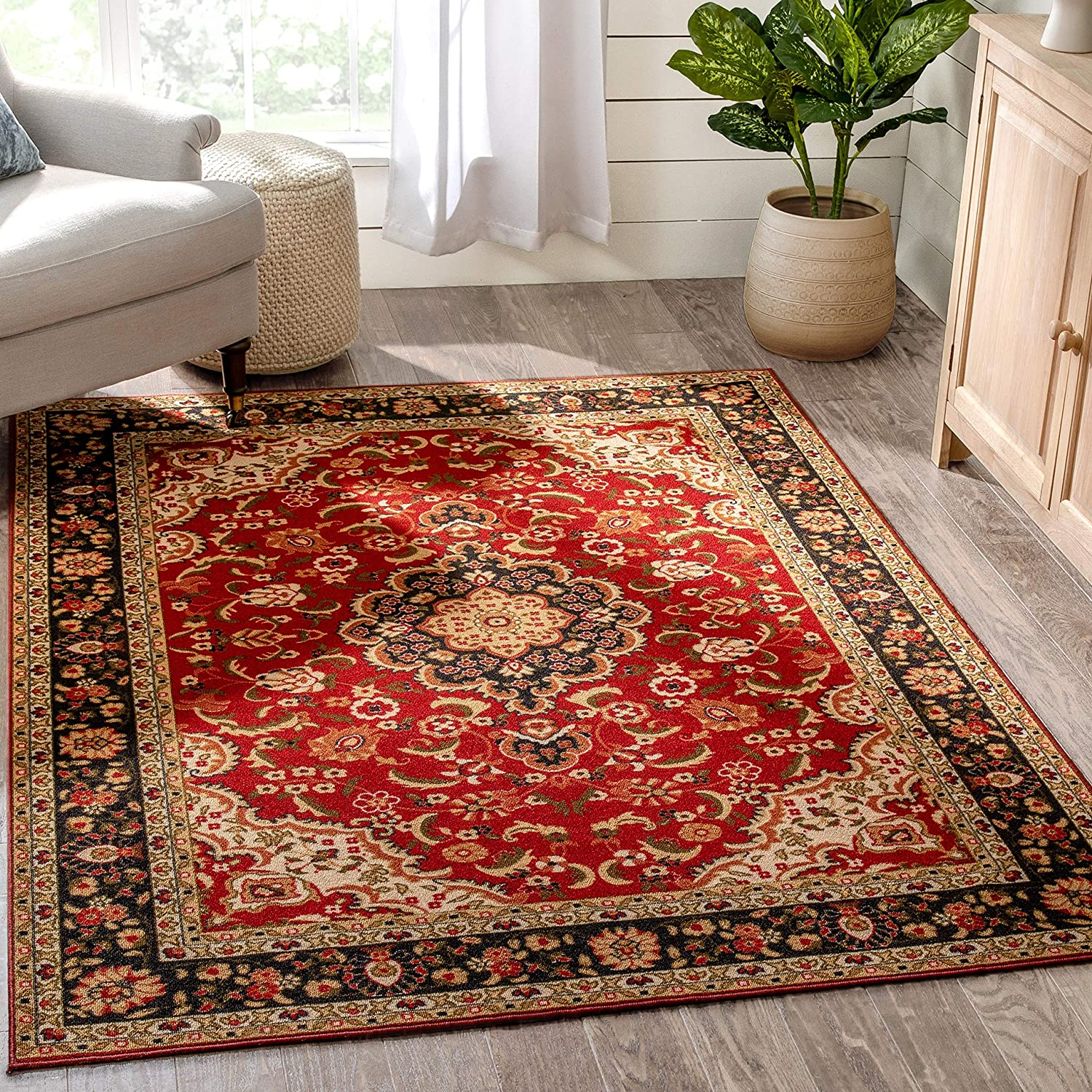 Well Woven Eugene Red Oriental Rug 5x7 Non-Slip Direct stock discount Popular Medallion Area