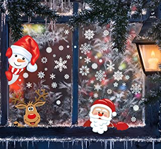 142 PCS 4 Sheet Christmas Window Clings Stickers for Glass Decals Reuseable Santa Claus Reindeer for Xmas Christmas Party Decorations Holiday Snowflake New Year Christmas Window Decoratio