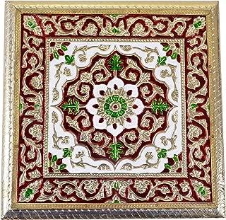 Maitri Creations Meenakari Puja Bajot/Table/Chowki (Hindu Pooja, Indian Religious Chaurang), Vintage Gold Design, 12'' L X 12'' W X 5'' H, Small