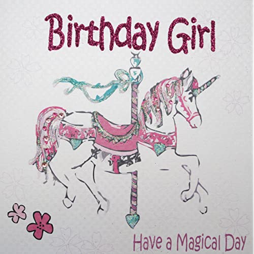 WHITE COTTON CARDS Magical Day Handmade Girls Birthday Card Pink Horse