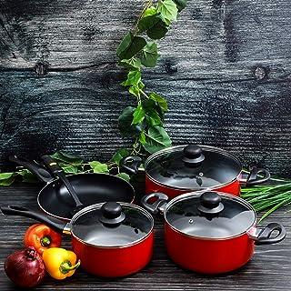 مجموعة من 8 قطع اواني طبخ مصنوعة من الستانلس ستيل مقاومة للخدش من رويالفورد، لون احمر واسود، RF6082