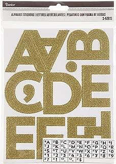 Darice Glitter Gold Alphabet Adhesive Backed Stickers, 100 Piece