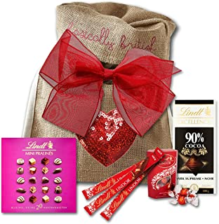 Lindt Lindor Mothers day gift in Basically British Rustic Bag by The Yummy Palette Sequin Heart edition
