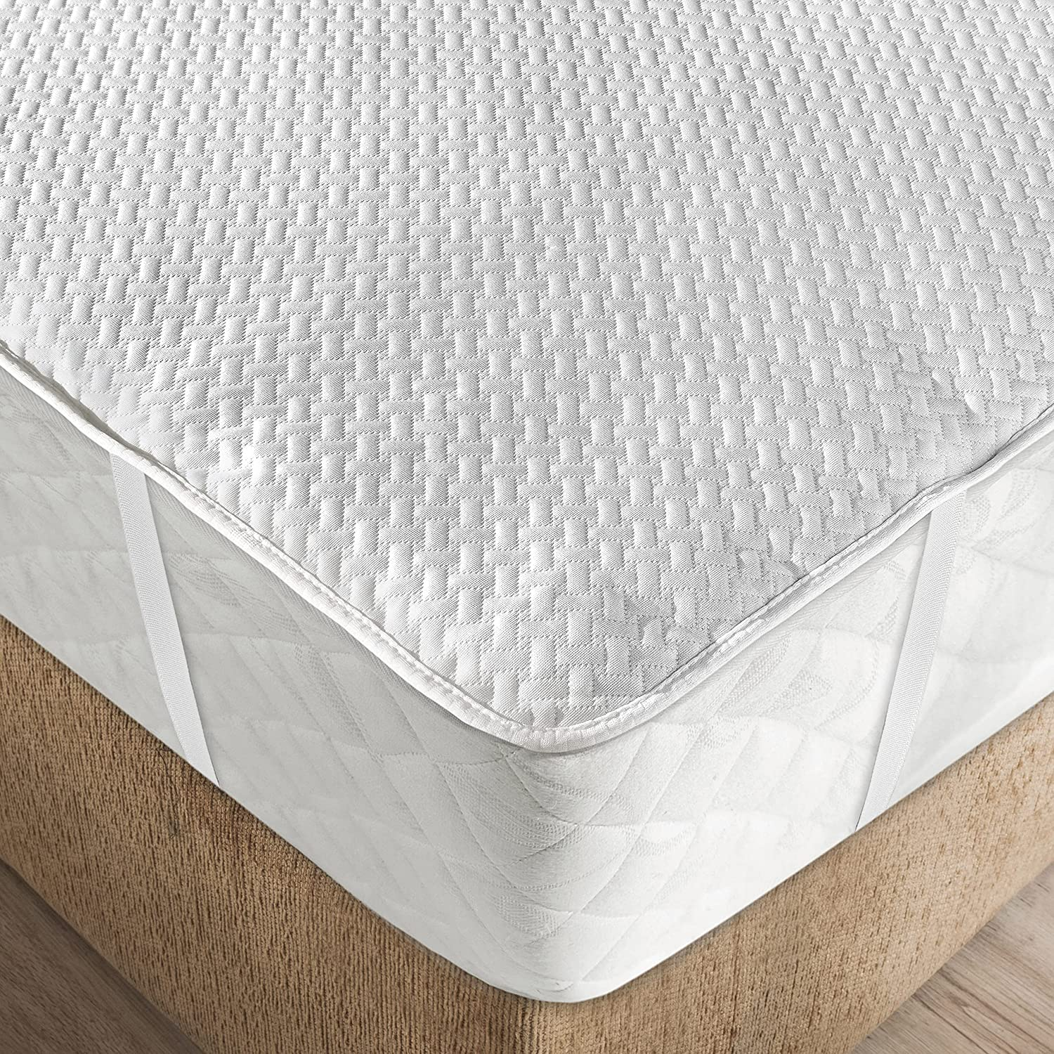 Ambesonne Soft Texture Mattress Encasement Pad Quilted Bed Toppe