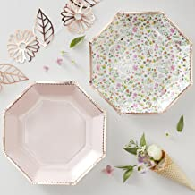 Floral And Pink Rose Gold Foiled Party Paper Plates - 8 Pack
