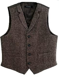 Big Boy's Wool Blend 2Pockets 4Buttons Herringbone Tweed Vest : 8-14 Years