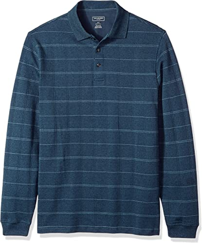 Van Heusen Hommes's Taille Big and Tall Flex Jaspe Polo Shirt, Turquoise Seabed Plaid, 4X-grand Tall