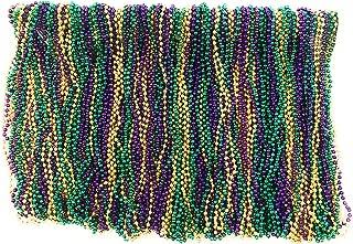Mardi Gras Beads 33 inch 7mm, 10 Dozen, 120 Pieces (Purple Green Gold)