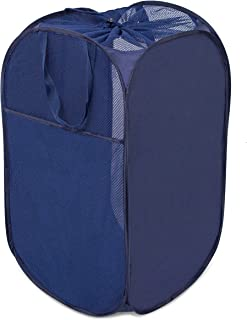 Internet's Best Square Pop Up Laundry Hamper | Collapsible Laundry Bag with Mesh Drawstring Lid | Carry Handles | Dirty Laundry Sorter Basket | Blue