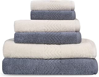 6 Piece Extremely Soft and Fluffy 100% Egyptian Cotton Towel Set for Hotels, Spas and Home 2 Bath Towels, 2 Hand Towels, 2 Small Towels[Gray&Ivory]