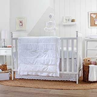 white eyelet lace crib bedding