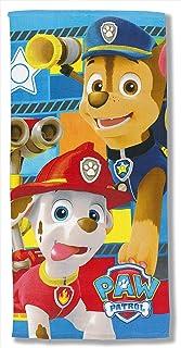 Paw Patrol Telo mare Rubble e Marshall per bambini Azzurro 140 cm x 70 cm telo da bagno 83/% cotone 17/% poliestere Chase