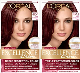 Sponsored Ad - L'Oreal Paris Excellence Creme Permanent Hair Color, 4RM Dark Mahogany Red, 100% Gray Coverage Hair Dye, Pa...