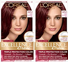 L'Oréal Paris Excellence Créme Permanent Hair Color, 4RM Dark Mahogany Red, 2 COUNT 100% Gray Coverage Hair Dye