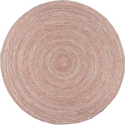 nuLOOM Kyla Handmade Braided Farmhouse Round Area Rug, 3' x 5' Oval, Light Pink