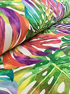 HomeBuy Tropical Palm Leaves Fabric Curtain Upholstery Cotton Material Jungle Palm Leaf / 140Cm Wide Green Red Pink