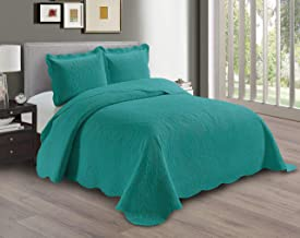 AZORE LINEN Solid Bedspread Quilt Coverlet Bedding Set Embossed with Seamless Floral Paisley Pattern - Dana (Turquoise, Fu...