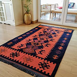 Secret Sea Collection Modern Bohemian Style Area Rug, 3.6' x 6' ft, (44'' x 71''), Cotton, Washable, Reversible (Black-Orange)
