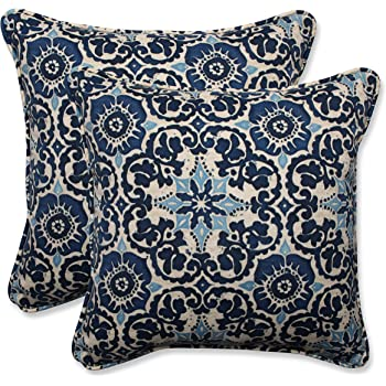 """Pillow Perfect Outdoor/Indoor Throw Pillows, 18.5"""" x 18.5"""", Woodblock Prism Blue, 2 Count"""