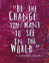 Colorful Batik Pattern Wall Art Print ~ MAHATMA GANDHI Famous Quote: 'Be the Change...' (8