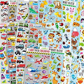HORIECHALY Car & Animal Sticker Packs for Kids, 24 Sheets no Repeat Pattern Including Cars, Airplane, Train, Police Car, Fire Trucks, Insect, Birds, Butterfly, Wild Beast, Stickers for Teacher