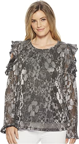 MICHAEL Michael Kors Ruffle Cold Shoulder Long Sleeve Top