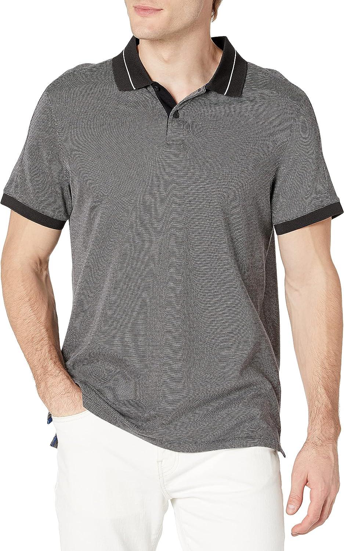 Perry Ellis Men's Motion Jacquard Tipped Collar Short Sleeve Polo Shirt