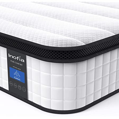 Inofia Full Mattress, 12 Inch Hybrid Innerspring Double Mattress in a Box, Cool Bed with Breathable Soft Knitted Fabric Cover