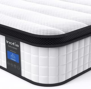 Inofia Queen Mattress, 12 Inch Hybrid Innerspring Double Mattress in a Box, Cool Bed with Breathable Soft Knitted Fabric Cover, CertiPUR-US Certified, 100 Risk-Free Nights Trial
