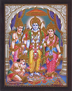 Hanuman Ram Darbar, A Holy and Hindu Religious Auspicious Gathering of Lord Ram, Sita and Laxman, A Hindu Religious Poster Painting with Frame for Hindu Religious and Gift Purpose.