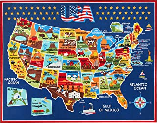 Smithsonian Rug US Map Learning Carpets Bedding Play Mat Classroom Decorations Blue Area Rugs 8x10, Navy
