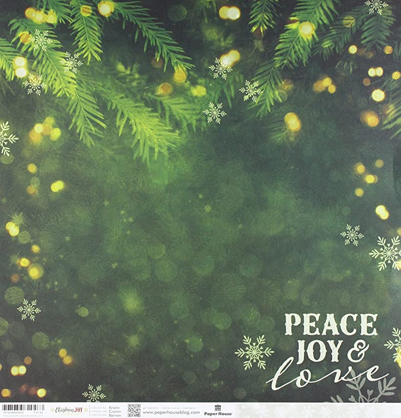 Paper House Productions Peace, Joy & Love Paper, Double Sided, 15-Pack