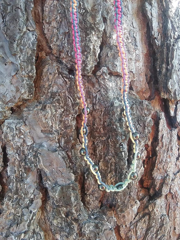 BEACH HEMP Cash special price JEWELRY Silver Hematite Bead Hemp Choker Tie Max 81% OFF Necklace