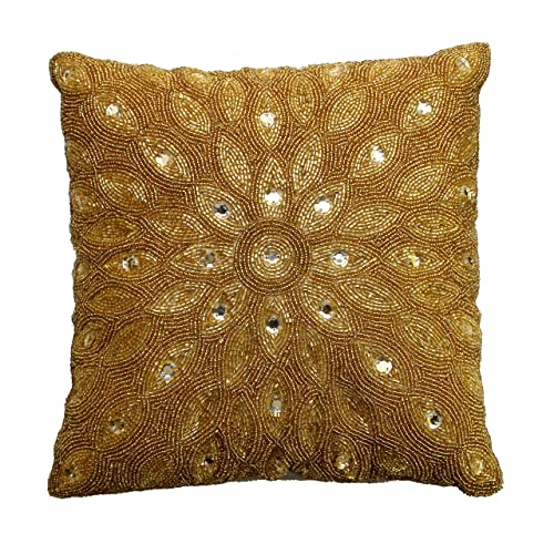 9a7360b152d1 Cotton Craft - Peacock Hand Beaded Decorative Pillow 12x12 Square Gold