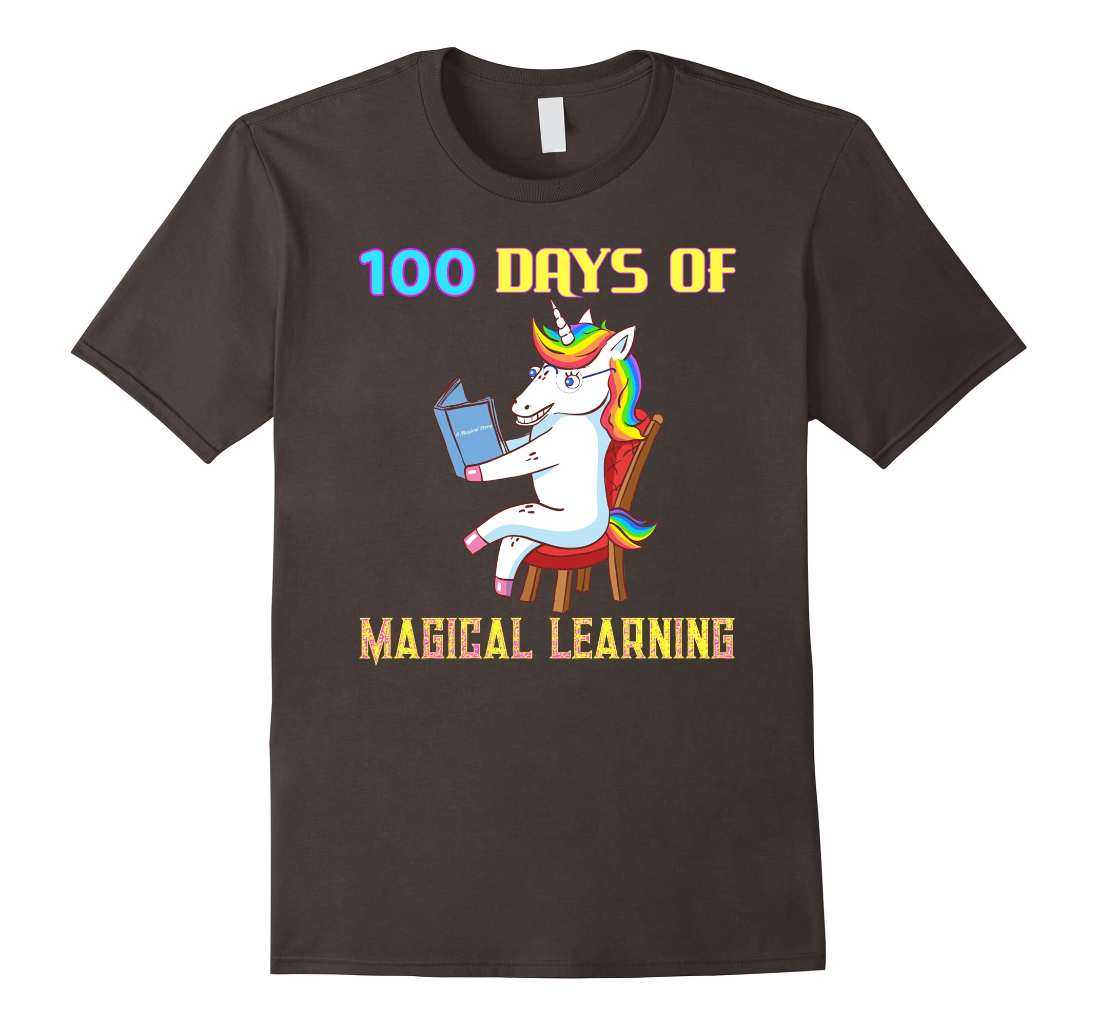 100th Day of School Unicorn Teacher with Book Gift Shirt-RT