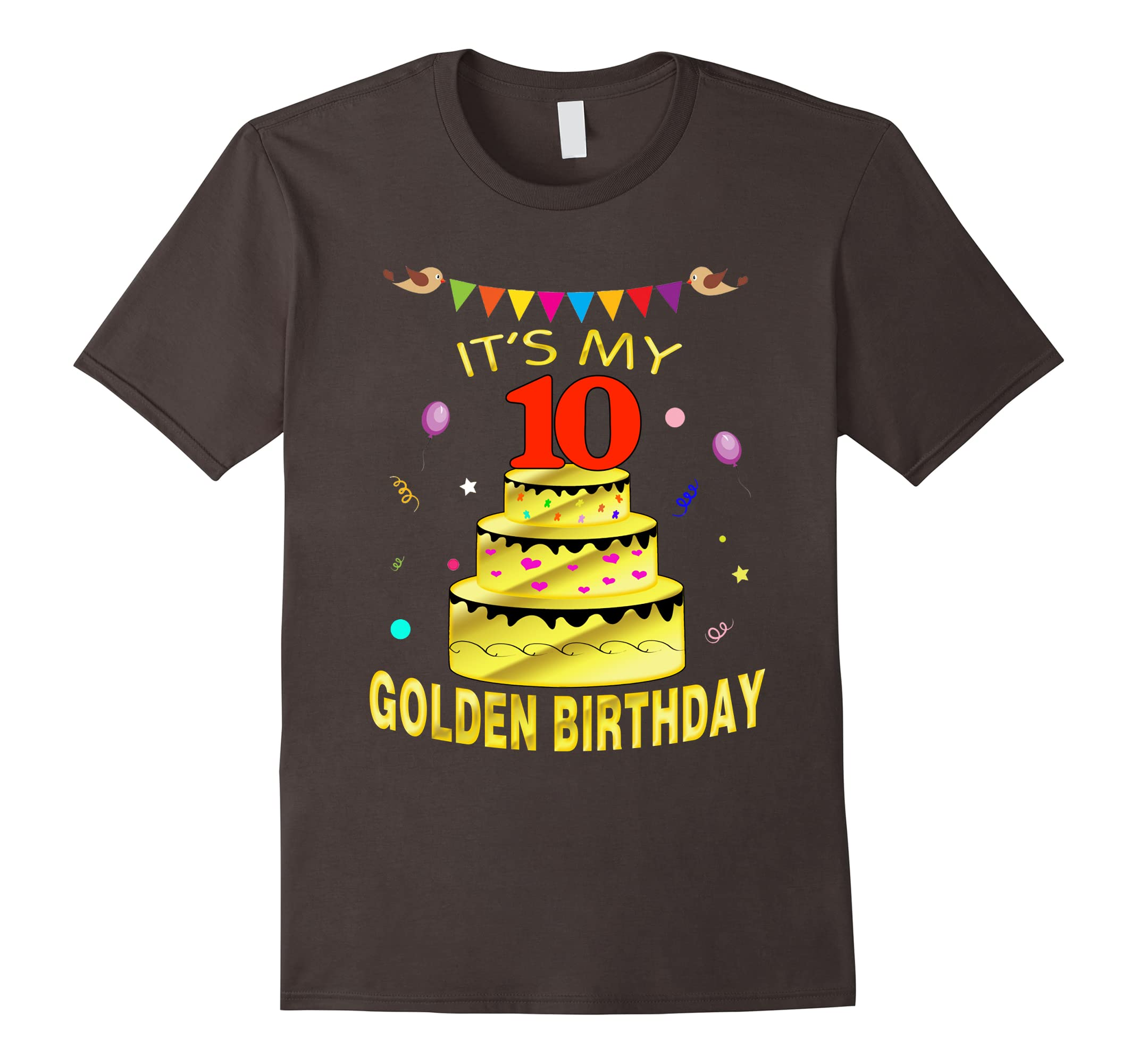 Its My 10 Golden Birthday Shirt Years Old 10th Gift RT