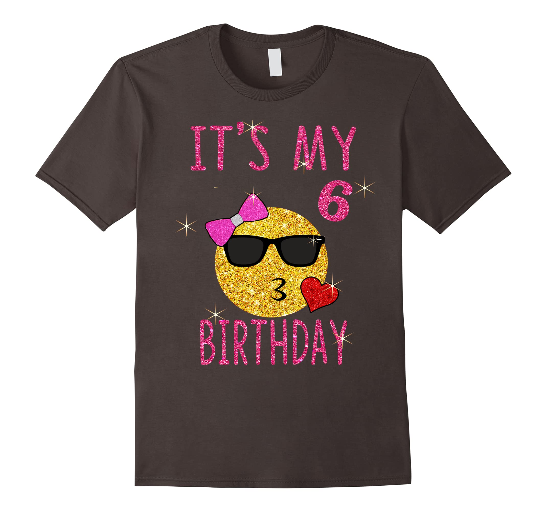 Cute Emoji 6 Years Old Shirt Its My 6th Birthday Gift RT