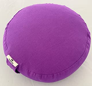 Meditation Cushion with Natural Buckwheat Hulls and Dried Lavender, Premium Inner and Outer Covers with Zipper and Handle