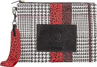 CODELLO Damen Tasche, Clutch | Glencheck | 100% Baumwolle Canvas |19,5 x 26 x 2 cm