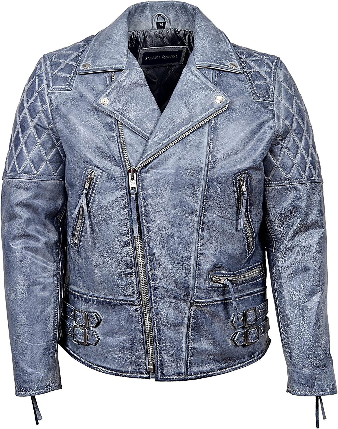 Smart Range 'Reckless' Men's Grey Stone Washed Biker Style Motorcycle Real Leather Jacket 233