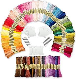 Embroidery Floss Kit – 100 Embroidery Thread Colors Including 18 Bobbins and 10-Pack of Needles for Cross Stitch, Embroidery and DIY Crafting – Premium Quality Rainbow Friendship Bracelet String