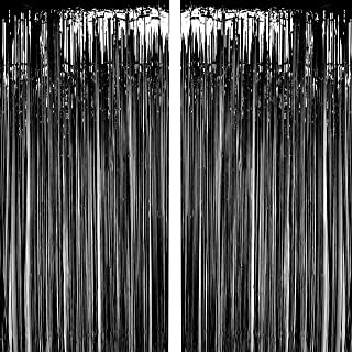 Black Foil Fringe Curtains Metallic Tinsel Foil Fringe Curtains Bachelorette Party Decor Halloween Happy New Year Photo Booth Props Backdrops Decorations