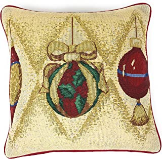 DaDa Bedding Throw Pillow Cover - Elegant Ornaments Festive Tapestry - Christmas Holiday Cushion Case Décor - 16