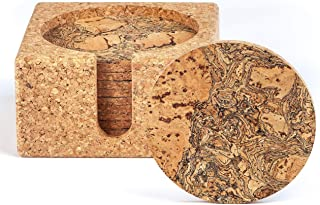 Natural Cork Coasters for Drinks – 10 Absorbent Drink Coasters with Matching Cork Holder That Doubles as a Bottle Coaster ...
