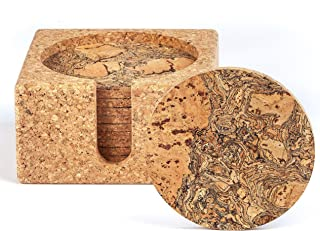 Natural Cork Coasters for Drinks – 10 Absorbent Drink Coasters with Matching Cork Holder That Doubles as a Bottle Coaster to Protect Tables and Countertops