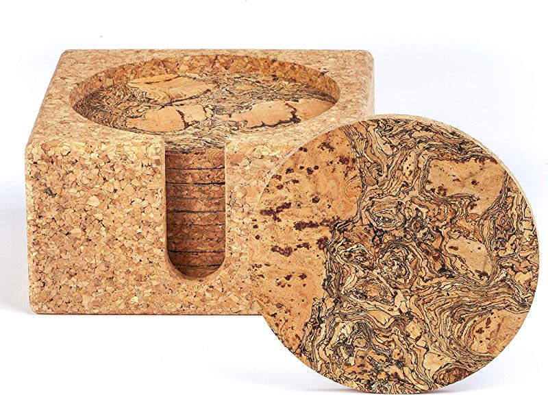 Natural Cork Coasters For Drinks 10 Absorbent Drink Coasters With Matching Cork Holder That Doubles As A Bottle Coaster To Protect Tables And Countertops